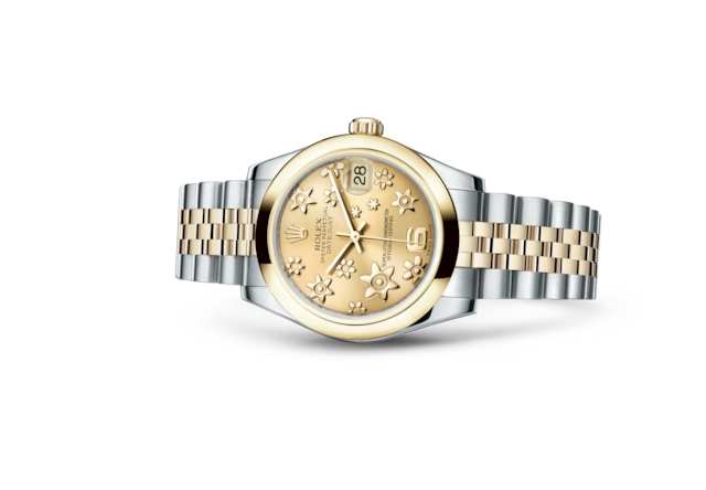 Datejust 31 - Champagne-colour, raised floral motif, Oystersteel and yellow gold