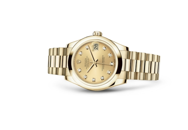 Datejust 31 - Couleur champagne, serti de diamants, or jaune