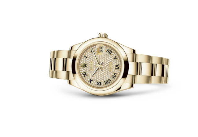 Datejust 31 - Diamond-paved, yellow gold