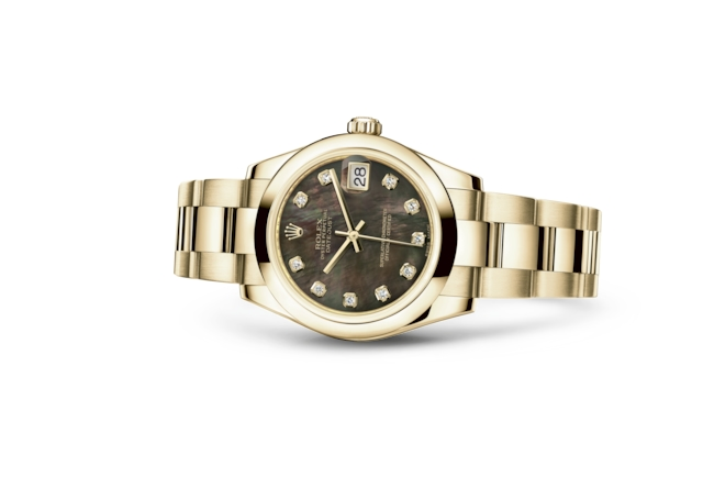 Datejust 31 - Black mother-of-pearl set with diamonds, yellow gold