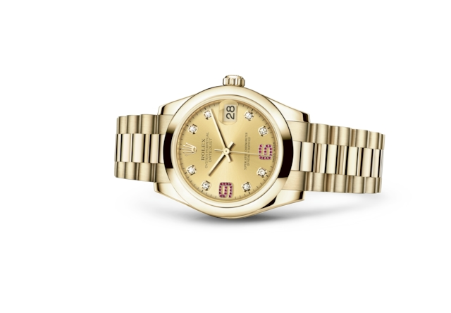 Datejust 31 - Champagne-colour set with diamonds and rubies, yellow gold