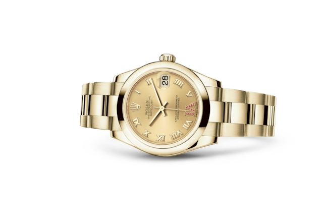 Datejust 31 - Champagne-colour set with rubies, yellow gold