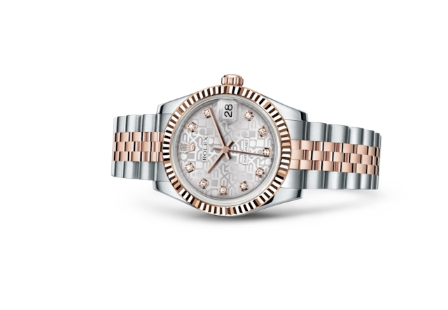 Datejust 31 - Jubilé argent, serti de diamants, Acier Oystersteel et or Everose