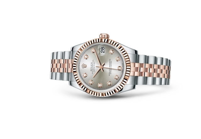 Datejust 31 - Argenté, serti de diamants, Acier Oystersteel et or Everose