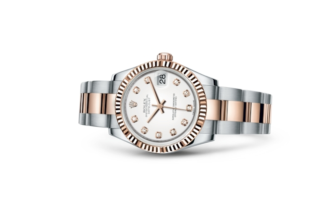 Datejust 31 - Blanc, serti de diamants, Acier Oystersteel et or Everose