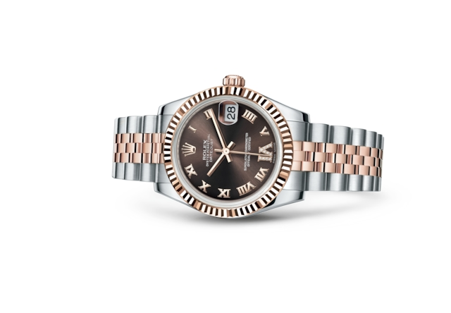 Datejust 31 - Chocolate cravejado de diamantes, Aço Oystersteel e ouro Everose