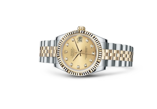 Datejust 31 - Champagne-colour set with diamonds, steel and yellow gold