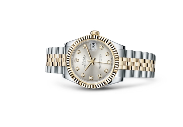 Datejust 31 - Silver set with diamonds, steel and yellow gold