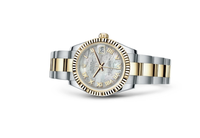 Datejust 31 - White mother-of-pearl, Oystersteel and yellow gold