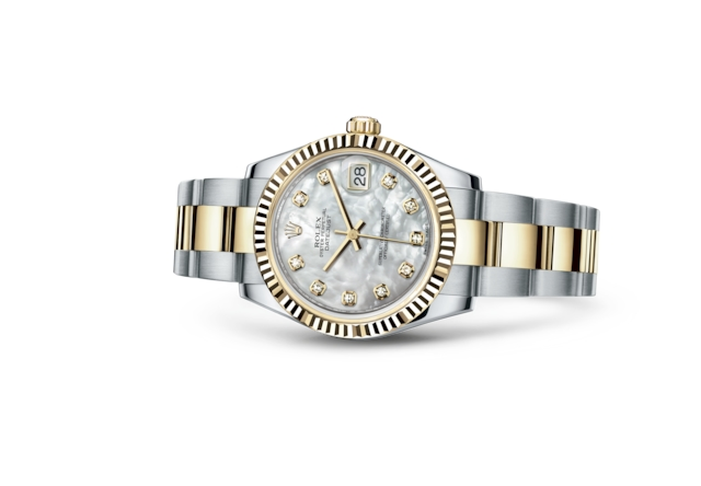 Datejust 31 - Nacre blanche, serti de diamants, acier et or jaune