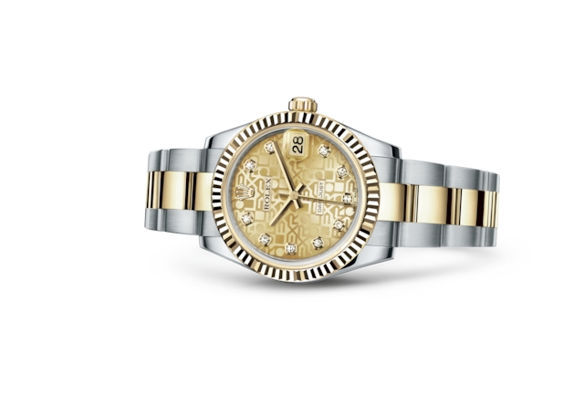 Datejust 31 - Champagne-colour Jubilee design set with diamonds, steel and yellow gold