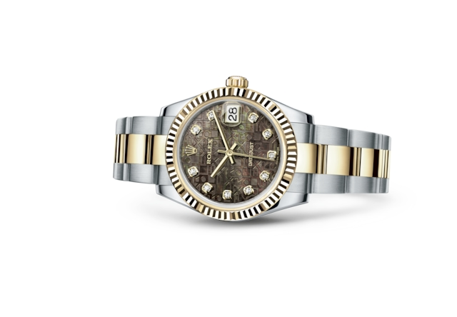 Datejust 31 - Black mother-of-pearl Jubilee design set with diamonds, Oystersteel and yellow gold