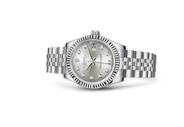 Datejust 31 - Silver set with diamonds, Oystersteel and white gold