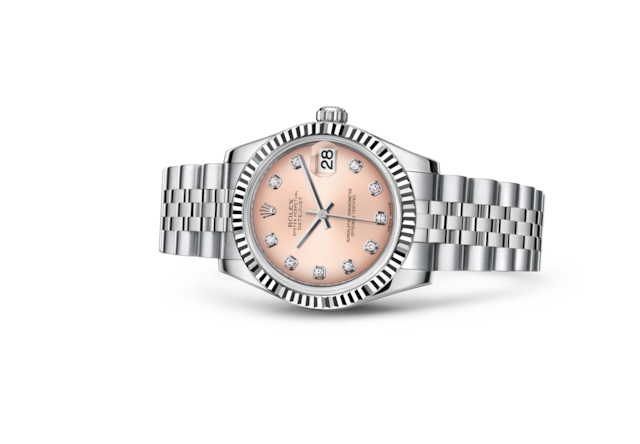 Datejust 31 - Rose, serti de diamants, Acier Oystersteel et or gris