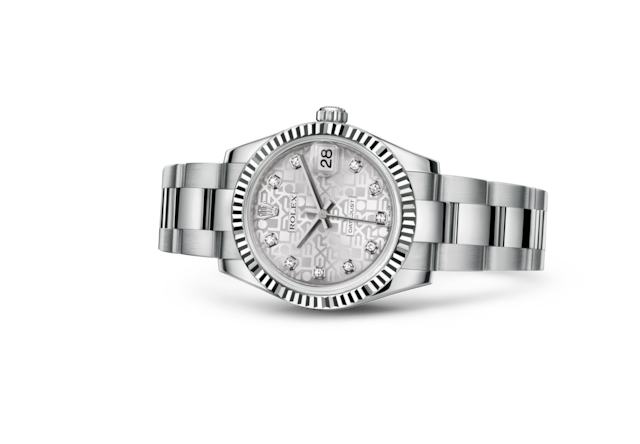 Datejust 31 - Silver Jubilee design set with diamonds, steel and white gold