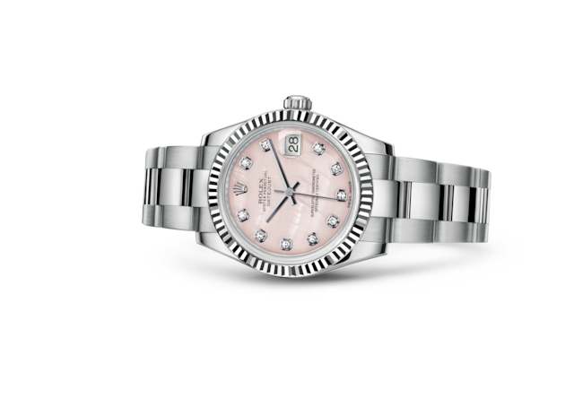 Datejust 31 - Pink mother-of-pearl set with diamonds, Oystersteel and white gold