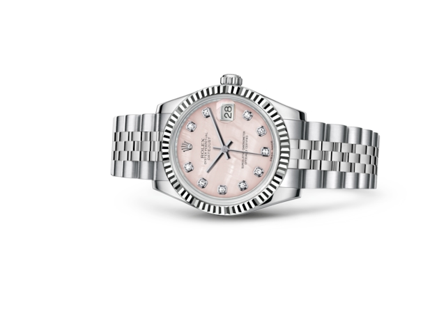 Datejust 31 - Nacre rose, serti de diamants, Acier Oystersteel et or gris
