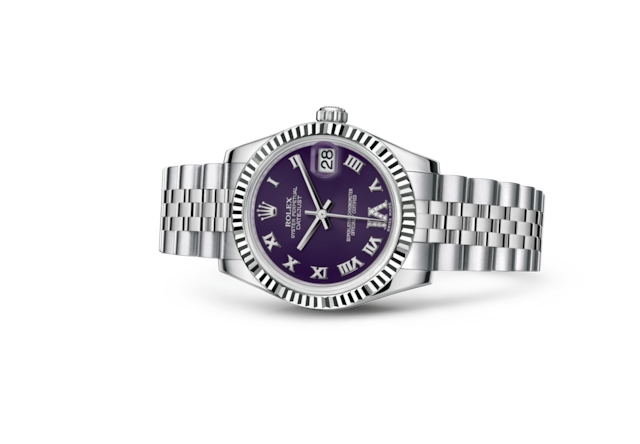 Datejust 31 - Purple set with diamonds, Oystersteel and white gold
