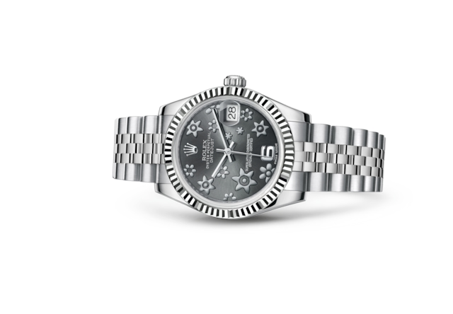 Datejust 31 - Dark rhodium, raised floral motif, Oystersteel and white gold