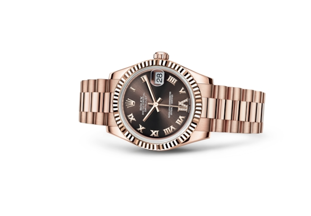 Datejust 31 - Chocolat, serti de diamants, or Everose