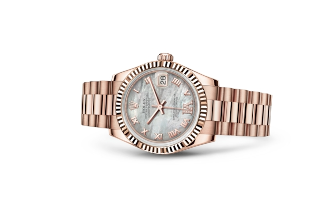 Datejust 31 - Nacre blanche, serti de diamants, or Everose
