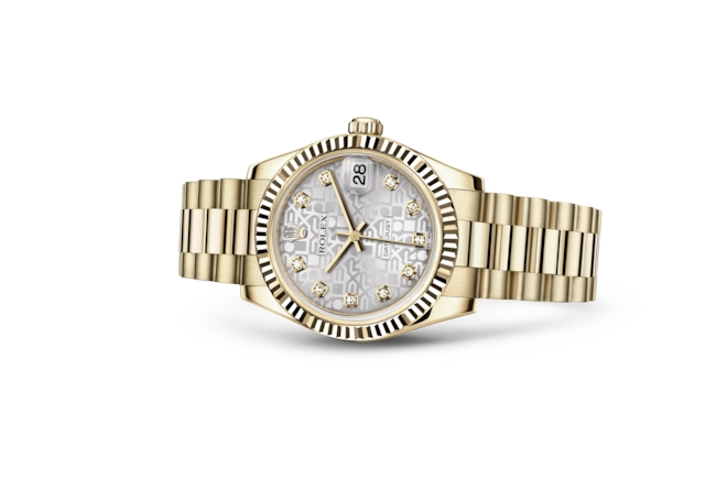 Datejust 31 - Silver Jubilee design set with diamonds, yellow gold
