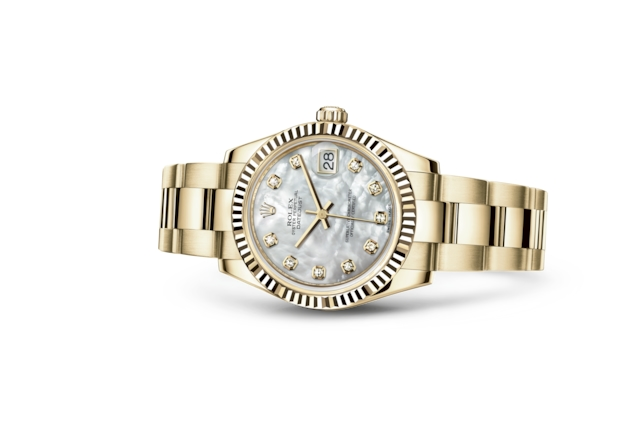Datejust 31 - White mother-of-pearl set with diamonds, yellow gold