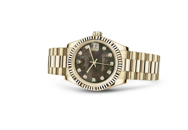 Datejust 31 - Nacre noire, serti de diamants, or jaune