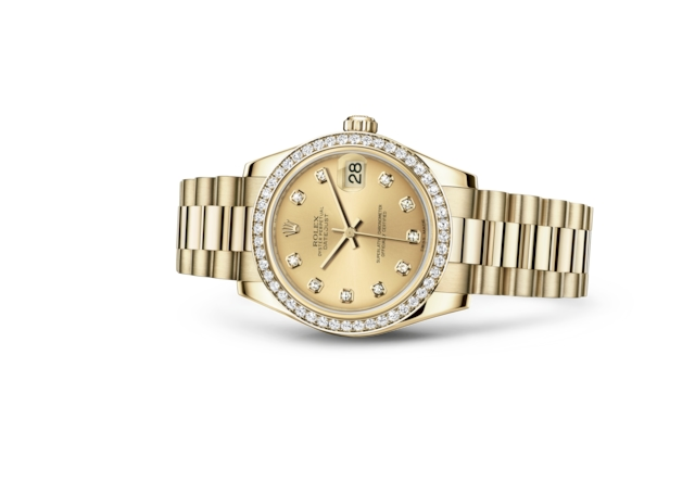Datejust 31 - Champagne-colour set with diamonds, yellow gold and diamonds