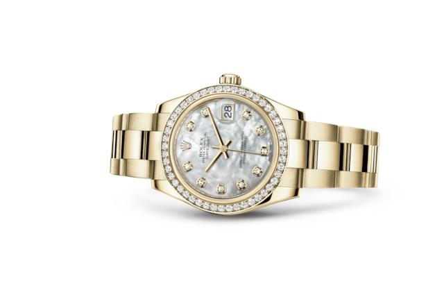 Datejust 31 - White mother-of-pearl set with diamonds, yellow gold and diamonds