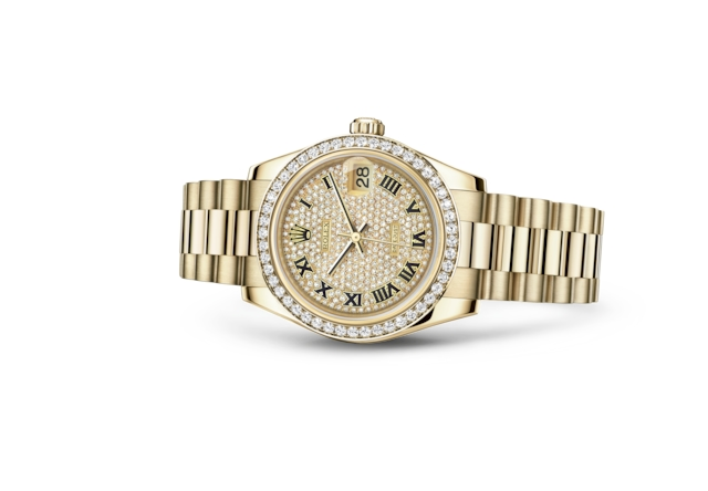 Datejust 31 - Diamond-paved, yellow gold and diamonds