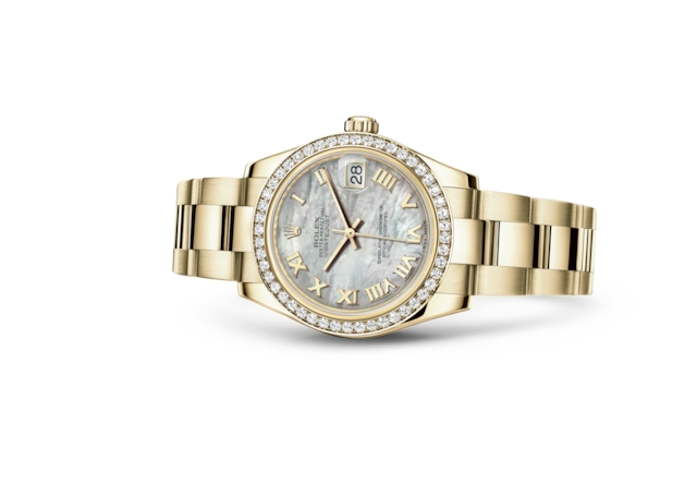 Datejust 31 - White mother-of-pearl, yellow gold and diamonds