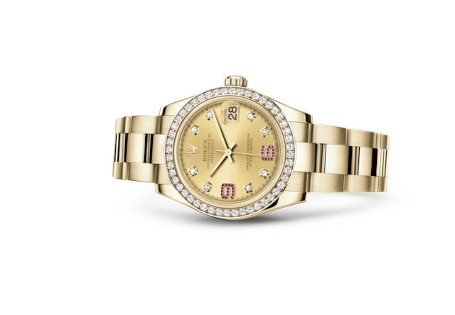 Datejust 31 - Champagne-colour set with diamonds and rubies, yellow gold and diamonds