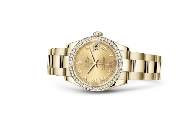 Datejust 31 - Champagne-colour set with rubies, yellow gold and diamonds