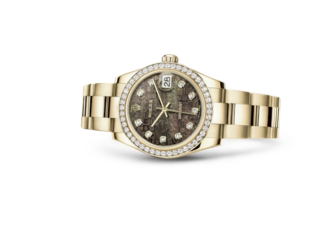 Datejust 31 - Black mother-of-pearl Jubilee design set with diamonds, yellow gold and diamonds