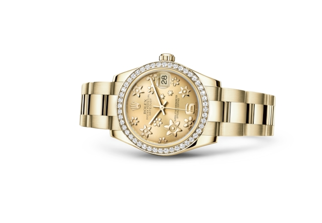 Datejust 31 - Champagne-colour, raised floral motif, yellow gold and diamonds