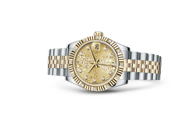 Datejust 31 - Decoro Jubilé color champagne con diamanti, Acciaio Oystersteel, oro giallo e diamanti