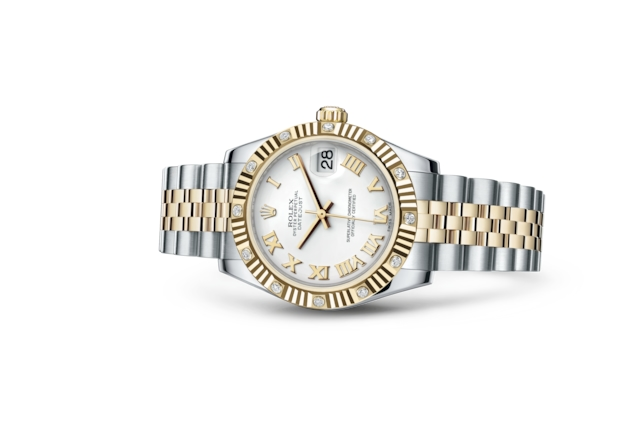 Datejust 31 - Blanc, Acier Oystersteel, or jaune et diamants
