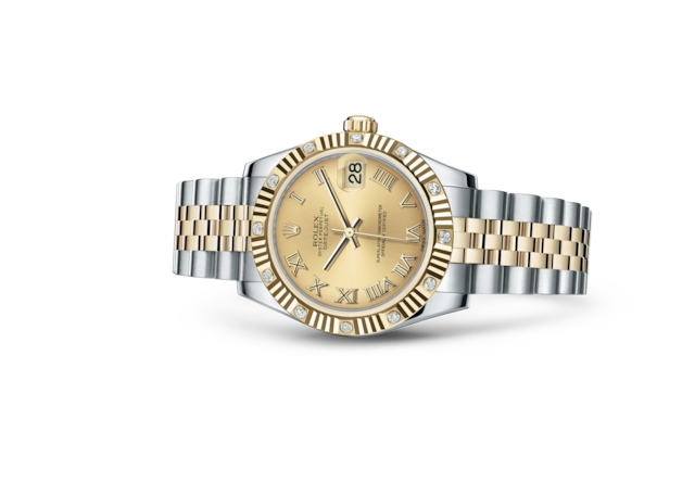 Datejust 31 - Color champagne, Acero Oystersteel, oro amarillo y diamantes