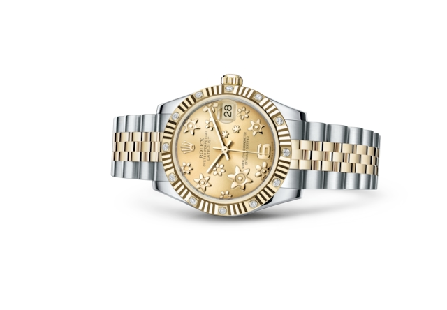 Datejust 31 - Color champagne, motivo floral en relieve, Acero Oystersteel, oro amarillo y diamantes