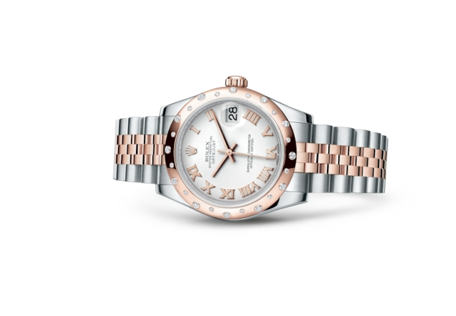 Datejust 31 - Blanc, Acier Oystersteel, or Everose et diamants