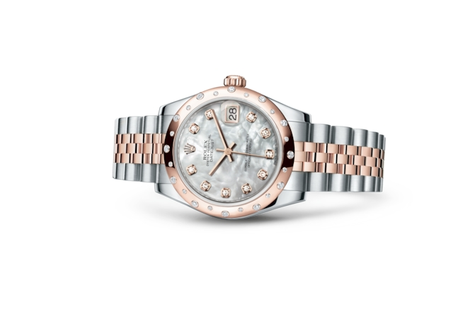Datejust 31 - Madreperla bianca con diamanti, Acciaio Oystersteel, oro Everose e diamanti