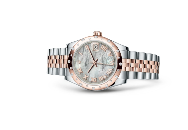 Datejust 31 - Nacre blanche, Acier Oystersteel, or Everose et diamants