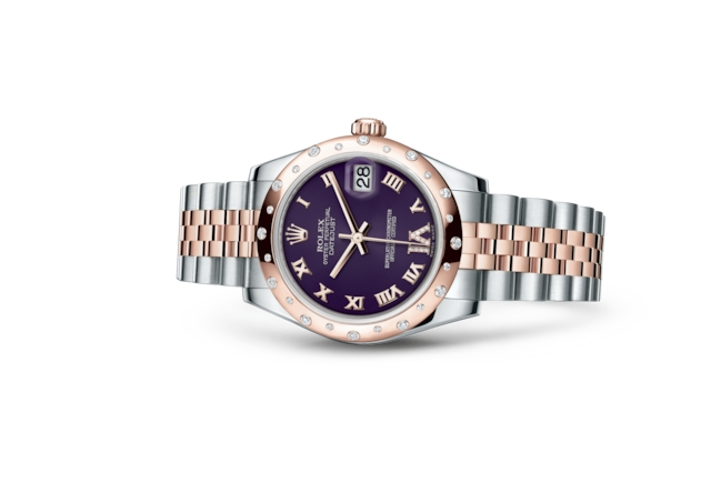 Datejust 31 - Purple con diamanti, Acciaio Oystersteel, oro Everose e diamanti