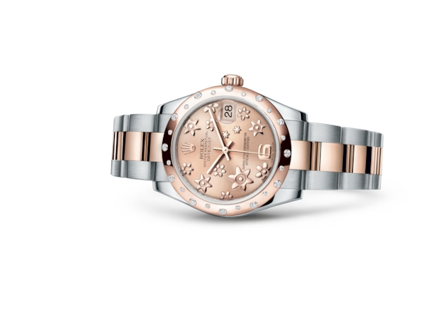 Datejust 31 - Rose, motifs floraux en relief, acier, or Everose et diamants