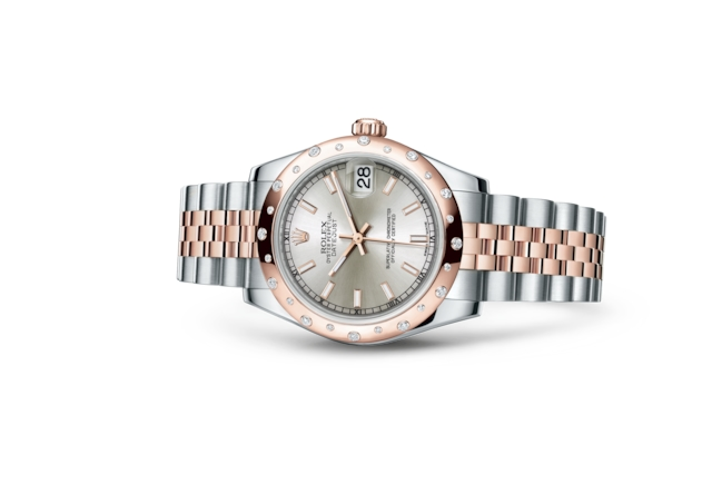 Datejust 31 - Argenté, Acier Oystersteel, or Everose et diamants