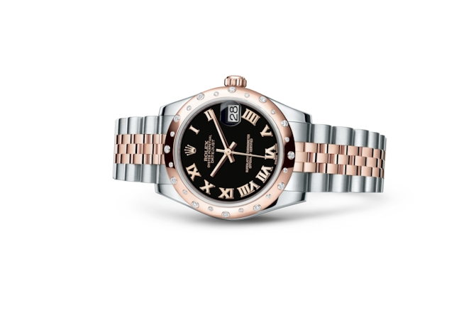 Datejust 31 - Noir, Acier Oystersteel, or Everose et diamants