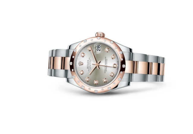 Datejust 31 - Silver set with diamonds, Oystersteel, Everose gold and diamonds