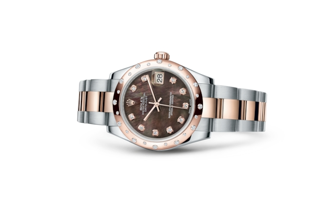 Datejust 31 - Madreperla nera con diamanti, Acciaio Oystersteel, oro Everose e diamanti