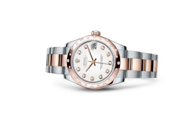 Datejust 31 - Blanc, serti de diamants, acier, or Everose et diamants